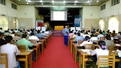 The lecture session in a civil service training program